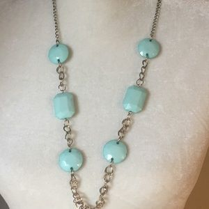4 for $12: Blue Beads Silver Tone Chain Necklace